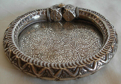 OLD EGYPTIAN ENGRAVED  SILVER BRACELET  TRANSFORMED INTO A DISH- 140.8 grams