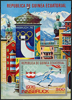 Equatorial Guinea 1976 Winter Olympics Cto Used Imperf M/S #A92762