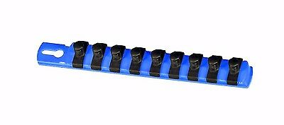 "Ernst 8408 8"" 3/8"" Drive Socket Organizer w/ 9 Twist Lock Clips - Blue"