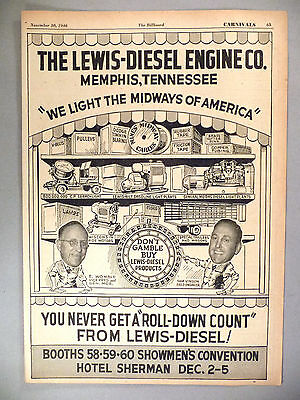 Lewis Diesel Engine Co PRINT AD - 1946 ~~ We Light the Midway