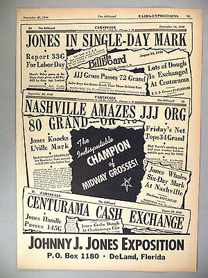 Johnny J. Jones Exposition PRINT AD - 1946 ~~ midway, state fair