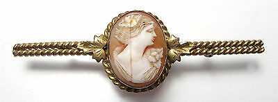 Vintage Art Nouveau Deco 10K Gold Filled CAMEO Bar Pin Brooch Hand Carved Shell