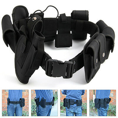 Police Guard Tactical Belt Buckles With 9 Pouches Utility Kit Security System