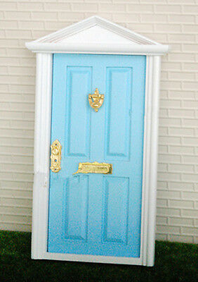 1:12 Dollhouse Miniature Wood Fairy Door Blue Assembled with Metal Accessories