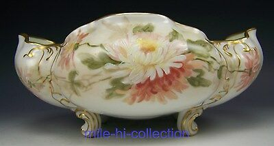 Limoges France Hand Painted Chrysanthemum Footed Bowl