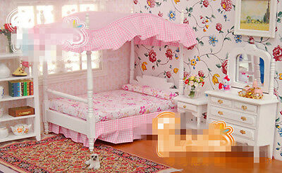 Dollhouse Bedroom Furniture Bed Chair + Wardrobe Mirror Set for Barbie Doll 1/6