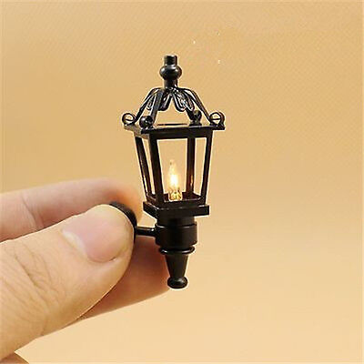 Dollhouse Miniature 1:12 outdoor wall black Lamp light with electric wire