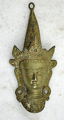 1850s Indian Antique Hand Crafted Engraved Brass Lord Buddha Face