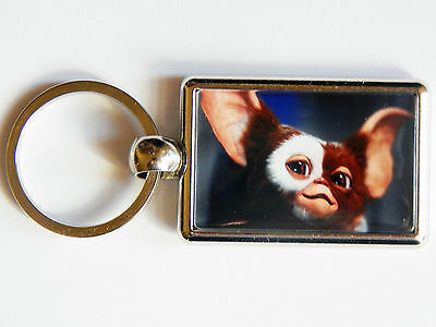 GIZMO GREMLINS Classic Movie Film Quality Chrome Keyring Picture On Each Side