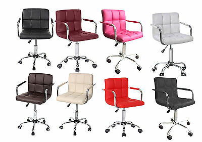 Pu Bar Stool Breakfast Kitchen Swivel Salon Stools Office Home Computer Chairs