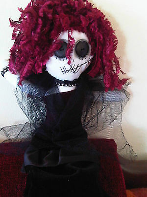 Ruby Rose Gothic Handmade  Rag Doll,  Ooak Doll, Collectors Doll, Art Doll