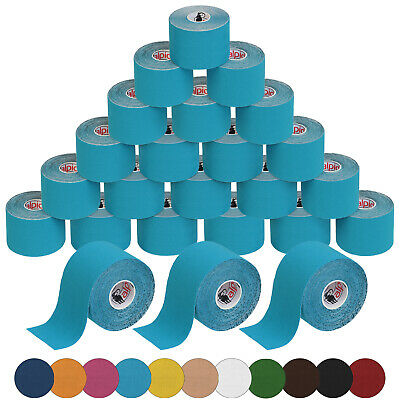 (0,42€/1m) 24 Rollen Kinesiologie Tape 5 m x 5,0 cm Sport Taping Physio 11 Farbe