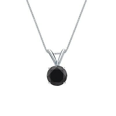 """1 Ct Round Cut Black Solid 14k White Gold Solitaire Pendant 18"""" Necklace"""