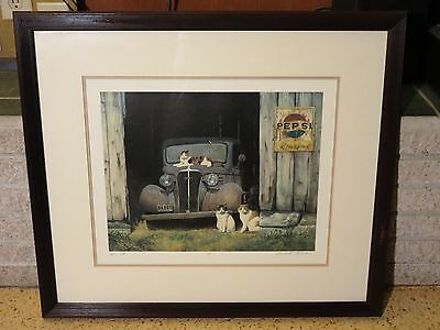 "Signed ""BARN CATS"" Lithograph ARTIST'S PROOF By GUALO H LUBECK Vtg Farm Art COA"