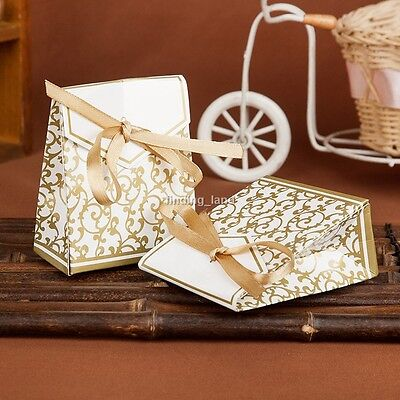 50/100 Silver/Gold Wedding Favour Gift Candy Boxes & Free Ribbon- CB6