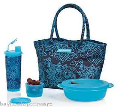 Tupperware Caspian Flora Ladies Lunch w/ Insulated Bag Microwave Bowl Rare New