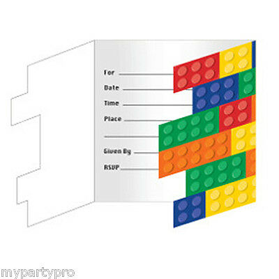 Lego inspired, Building Blocks INVITATIONS Birthday party supplies