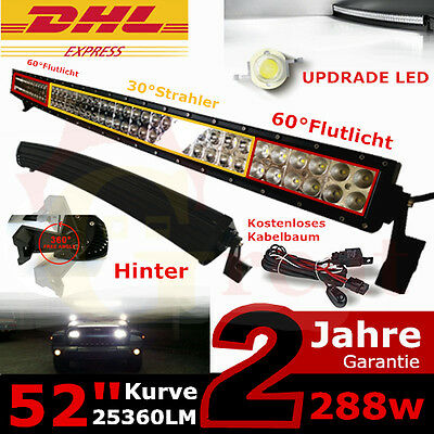 """52"""" 288W LED Work Light Curved Offroad Bar For Jeep Truck ATV Lamp 9-32V 25360LM"""