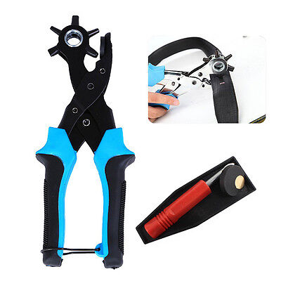 Heavy Duty Strap Leather Hole Punch Hand Plier Belt Punch Revolving Craft Tool