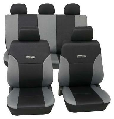 Grey & Black Leather Look Car Seat Covers Washable - For Bmw 3 2005 to 2011