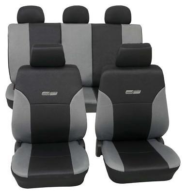 Grey & Black Leather Look Car Seat Covers Washable - For Ford Focus 2008 Onwards