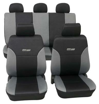 Grey & Black Leather Look Car Seat Covers Washable - Ford Fiesta 2009 Onwards