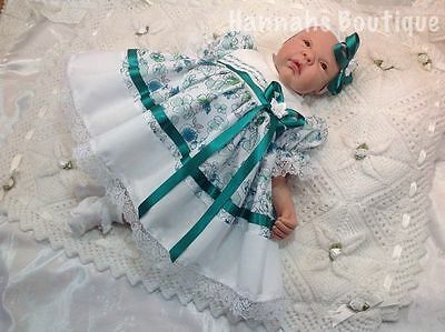 Hannahs Boutique White & Green Frilly Dress & Headband Set -All Sizes Available-
