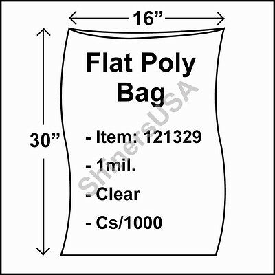 1000 1-Mil 16x30 Clear Poly Bag Open Top Lay Flat Packaging 121329