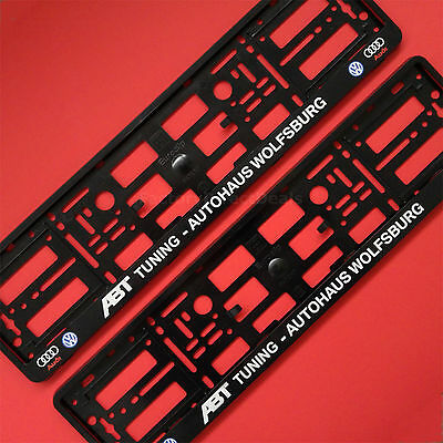 PAIR ABT TUNING WOLFSBURG AUDI VW Number Plate Surround Holder Frame For Car Van