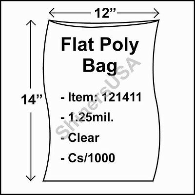 1000 1.25-Mil 12x14 Clear Poly Bag Open Top Lay Flat Packaging 121411
