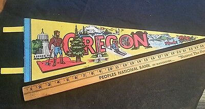 VTG collectible wall banner pendant flag Oregon St tourist memorabilia souvenir