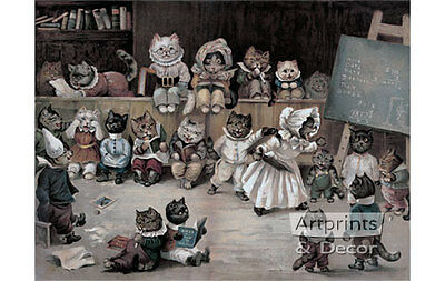 Ms. Tabitha's Cats' Academy by Louis Wain (Art Print of Vintage Art)