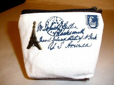 """Coin Purse, Zippered Top,3-1/2""""x1"""" approx.,Canvas, Lined,Leather Zipper Pull"""