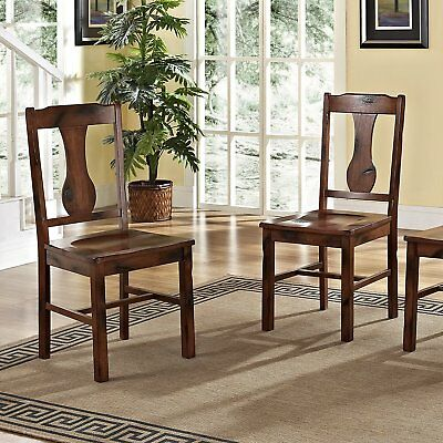 Walker Edison Solid Wood Dark Oak Dining Chairs, Set of 2, CHH2DO New