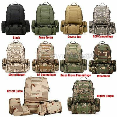 4 In 1 Molle Military Camping Tactical Outdoor Rucksacks Backpack Bag 600D Nylon