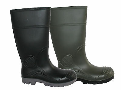 Mens Steel Toe Cap Safety Wellington Boot In Black And Green Sizes 6-13