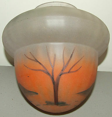Antique Art Deco Hand Painted Landscape Design Frosted Ceiling Globe Shade