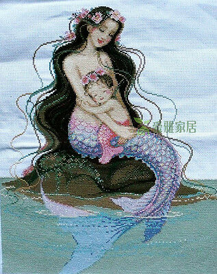 """New Completed finished cross stitch""""MERMAID-MOTHERS LOVE""""home decor gift sale"""