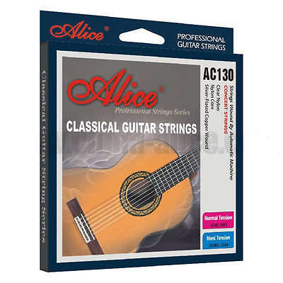 Classical Guitar Strings Set 6 Silver Wound Normal / High Tension Nylon Acoustic