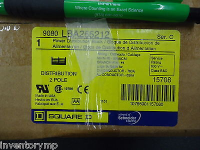 Square D 9080LBA265212 Power Distribution Block 760A, 2P, 12P Secndary, 600 New!