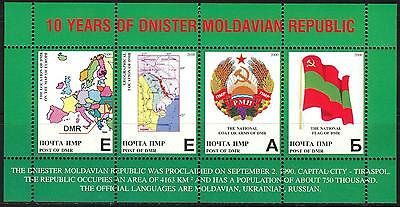 Transnistria Moldova PMR DMR 2000 Maps Arms Flags English Language S/S MNH**