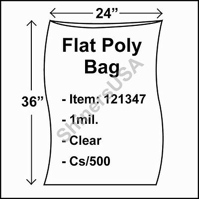 500 1-Mil 24x36 Clear Poly Bag Open Top Lay Flat Packaging 121347