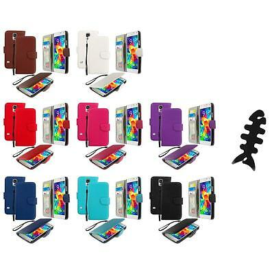 For Samsung Galaxy S5 Leather Wallet Leather Pouch Case Cover Cable Wrap