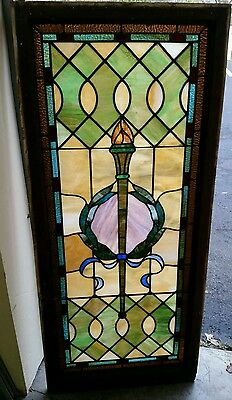 Antique Vintage Stained Glass  Window Over 100 Years Old!!