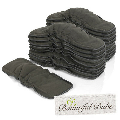 Charcoal Bamboo Boosters with Elastic x 20 - 6 Layers - Bountiful Bubs