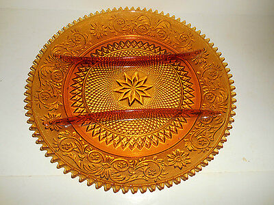 """Gorgeous Amber Sandwich 3 Part 12"""" Relish Plate by Duncan Miller"""