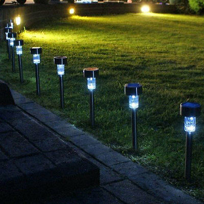 Solar LED White Lights Garden Path Patio Post Lawn Lamp Stainless Steel 4Packs