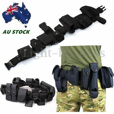 AU tility Kit Tactical Belt with 9 Pouches for Police Guard Security System NEW