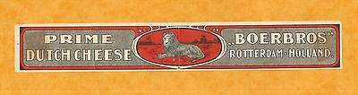 Ancienne  Etiquette Fromage Cheese Label Lion Pays Bas Boerbros Rotterdam