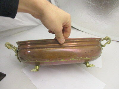Vintage Copper Trough Tub Planter Gilt Face Brass Handles Oval Antique Style Old